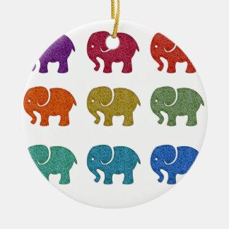 Colorful cute trendy girly elephants christmas ornament
