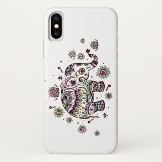 Colorful Cute Tribal Flowers Elephant Illustration iPhone X Case