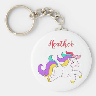 Colorful Cute Unicorn Custom Name Keychain