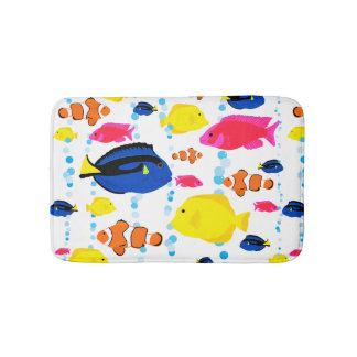 Colorful Cute Whimsical Tropical Fish and Bubbles Bath Mat
