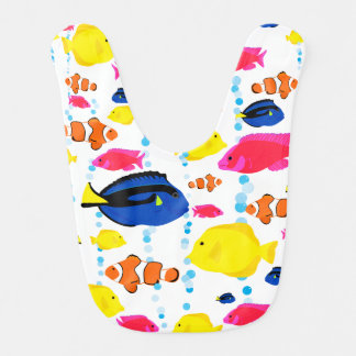 Colorful Cute Whimsical Tropical Fish and Bubbles Bib