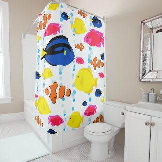 Colorful Cute Whimsical Tropical Fish and Bubbles Shower Curtain