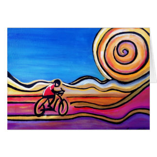 Colorful Cyclist - Acrylic Painting (Card) Card