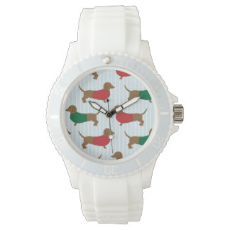 Colorful Dachshund Dogs Design Sporty White Watch