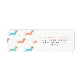 Colorful Dachshund Return Address Label