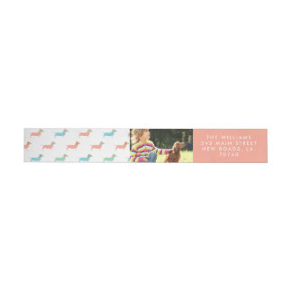 Colorful Dachshund Wraparound Return Address Label