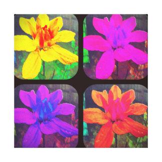 COLORFUL DAHLIA COLLAGE FLORAL FLOWER CANVAS PRINT
