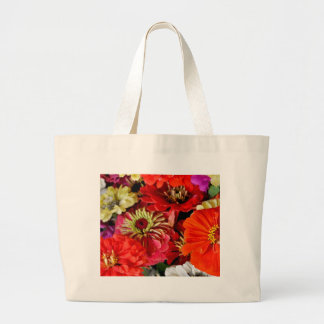 Colorful dahlia flowers print tote bags