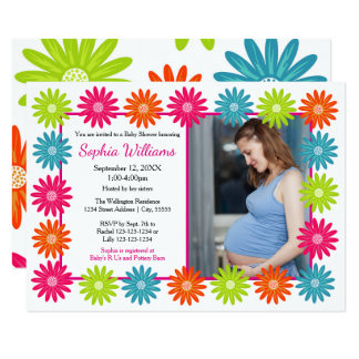 Colorful Daisies - 3x5 Baby Shower Invitation