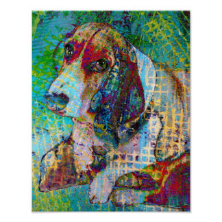 Colorful Daisy, Basset Hound Poster