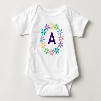 Colorful Daisy Circlet Monogrammed Baby Bodysuit