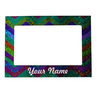 Colorful damask chevron magnetic frame