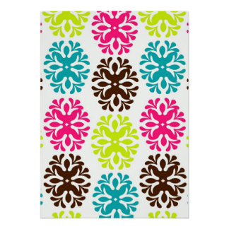 Colorful damask floral cute neon flower pattern poster