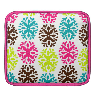 Colorful damask floral girly cute flower pattern iPad sleeve