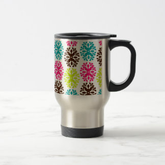 Colorful damask floral girly cute flower pattern stainless steel travel mug