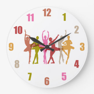Colorful Dancing Ballerinas Large Clock