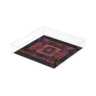 Colorful Dark Galaxy Of Blocks Artwork Acrylic Tray