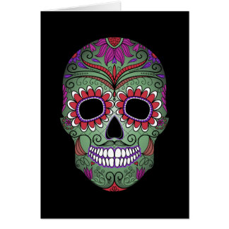 Colorful Day of the Dead Grunge Sugar Skull Card