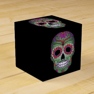 Colorful Day of the Dead Grunge Sugar Skull Favour Box