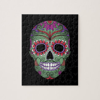 Colorful Day of the Dead Grunge Sugar Skull Jigsaw Puzzle