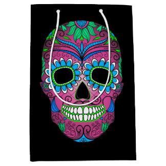 Colorful Day of the Dead Grunge Sugar Skull Medium Gift Bag