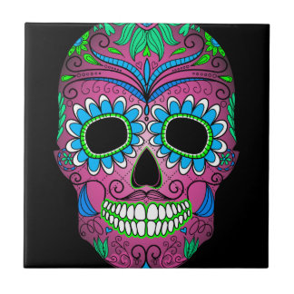 Colorful Day of the Dead Grunge Sugar Skull Small Square Tile