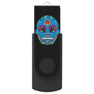 Colorful Day of the Dead Grunge Sugar Skull USB Flash Drive