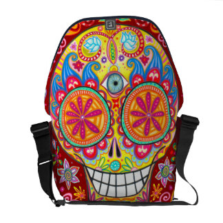 Colorful Day of the Dead Messenger Bag