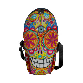 Colorful Day of the Dead Mini Messenger Bag