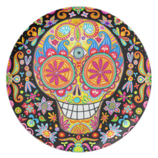 Colorful Day of the Dead Plate
