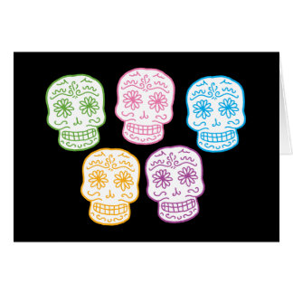 Colorful Day of the Dead Skulls Card