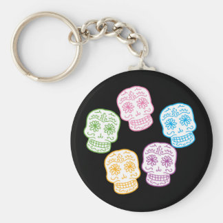 Colorful Day of the Dead Skulls Key Ring