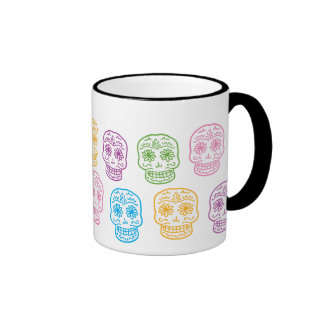 Colorful Day of the Dead Skulls Ringer Coffee Mug