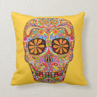 Colorful Day of the Dead Sugar Skull Pillow