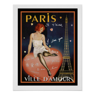 Colorful Deco Paris Travel Poster 16 x 20