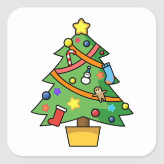 Colorful Decorated Christmas Tree Square Sticker