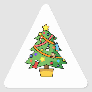 Colorful Decorated Christmas Tree Triangle Sticker