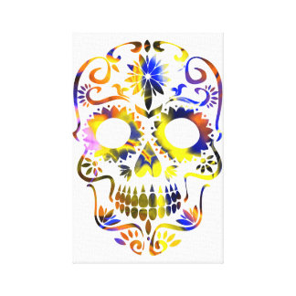 colorful decorated skull design canvas print