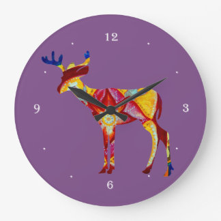 Colorful Deer Round (Large) Wall Clock