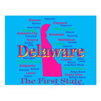Colorful Delaware State Pride Map Silhouette Postcard