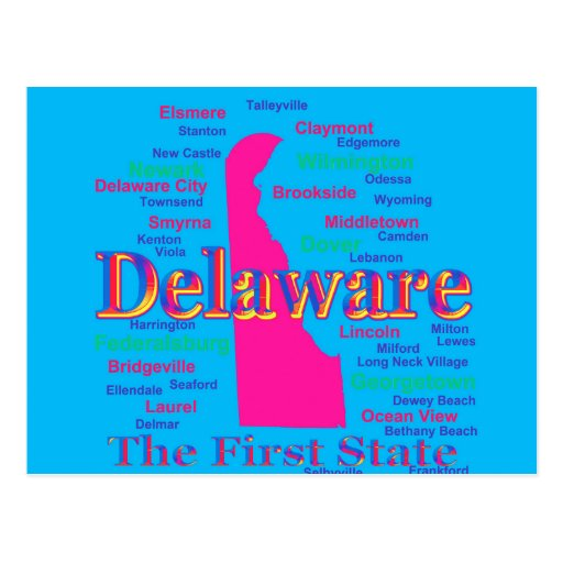 Colorful Delaware State Pride Map Silhouette Post Cards