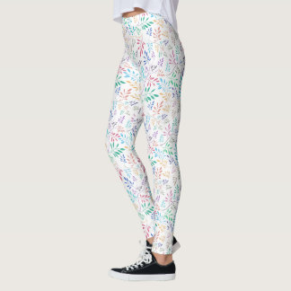 Colorful Delicate Leafs Pattern Leggings