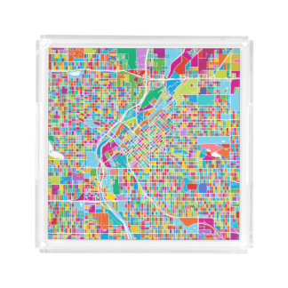 Colorful Denver Map Acrylic Tray
