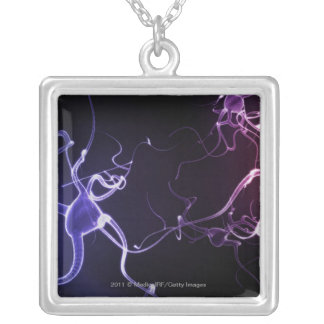 Colorful depiction of neurons silver plated necklace