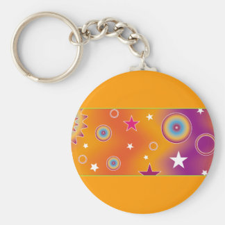 Colorful Design 07 Basic Round Button Key Ring