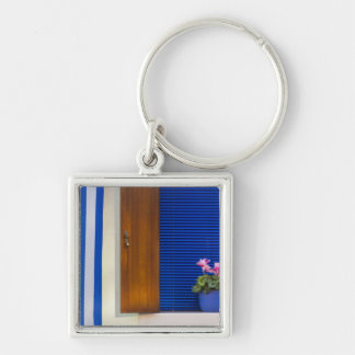 Colorful design contrast on residence Silver-Colored square key ring
