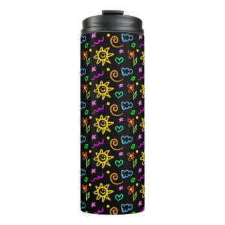 Colorful design of background for kids thermal tumbler