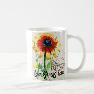 Colorful Design with flowers and Love Grows Here Coffee Mug