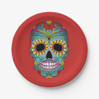 Colorful Dia de los Muertos Day Of The Dead Party Paper Plate
