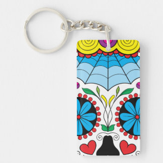 Colorful Dia Des Los Muertos Art Acrylic Keychains